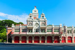 Vintage retro fire station building Royalty Free Stock Photo
