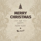 Vintage retro flat style trendy Merry Christmas card and New Year wish greeting. Vector illustration with brown text inscription on manilla background for Stock Photos