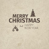 Vintage retro flat style trendy Merry Christmas card and New Year wish greeting Stock Photography