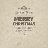 Vintage retro flat style trendy Merry Christmas card Royalty Free Stock Image