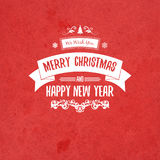 Vintage retro flat style trendy Merry Christmas card and New Year wish greeting. Vector illustration with pale yellow inscription on red background for Royalty Free Stock Photography