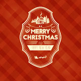 Vintage retro flat style trendy Merry Christmas card and New Year wish greeting Stock Photos