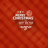 Vintage retro flat style trendy Merry Christmas card and New Year wish greeting. Vector illustration with white modern font inscription on red background for Stock Image