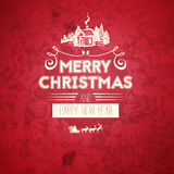 Vintage retro flat style trendy Merry Christmas card and New Year wish greeting. Vector illustration with white text inscription on red background for Royalty Free Stock Photos