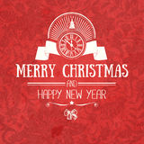 Vintage retro flat style trendy Merry Christmas card and New Year wish greeting Stock Photo
