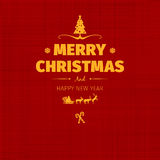 Vintage retro flat style trendy Merry Christmas card and New Year wish greeting. Vector illustration with yellow text inscription on red background for flyer Royalty Free Stock Images