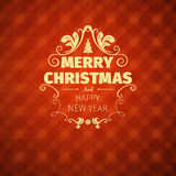 Vintage retro flat style trendy Merry Christmas card and New Year wish greeting. Vector illustration with yellow text inscription on red background for flyer Stock Image
