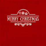 Vintage retro flat style trendy Merry Christmas card. Vector illustration with pale yellow inscription on red background, wallpaper, magazine, wallpaper Royalty Free Stock Photos