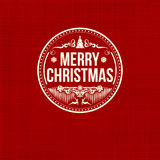 Vintage retro flat style trendy Merry Christmas card. Vector illustration with white text inscription on red background for wallpaper, magazine, wallpaper Stock Photography
