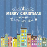 Vintage retro flat style trendy minimalistic Merry Christmas card and New Year wish greeting Royalty Free Stock Photos