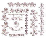 Vintage retro floral seamless borders and design elements Royalty Free Stock Image