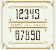 Vintage Retro Font. Handcrafted Decoration Font. Number from 0 to 9 Royalty Free Stock Photography
