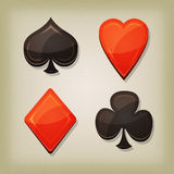 Vintage Retro Gambling Cards Icons Stock Photos