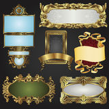 Vintage retro gold frames and labels stock photo