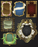 Vintage retro gold frames and labels Stock Photos
