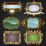 Vintage retro gold frames and labels Royalty Free Stock Photo