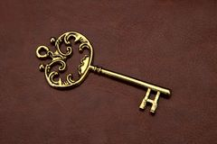 Vintage / Retro Golden Key on leather background Royalty Free Stock Photos