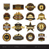 Vintage retro golden labels black and white isolated Stock Image