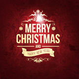 Vintage retro grange trendy Merry Christmas card and New Year wish greeting Stock Images