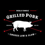 Vintage Retro Grilled Pork Seal stock illustration