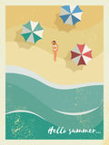 Vintage retro grunge edges summer holiday or party poster or postcard template with sunny sandy beach, sexy woman in Stock Photography