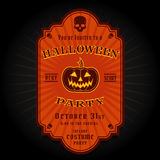 Vintage Retro Halloween Party Invitation Label Stock Images
