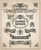 Vintage retro hand drawn banner set Stock Image
