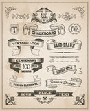 Vintage retro hand drawn banner set