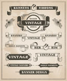 Vintage retro hand drawn banner set Stock Photos