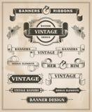 Vintage retro hand drawn banner set Stock Photos