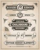 Vintage retro hand drawn banner set Royalty Free Stock Photo