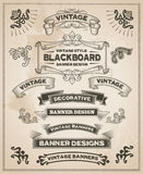 Vintage retro hand drawn banners Stock Photos