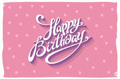 Vintage retro happy birthday card, with fonts, grunge frame and chevrons seamless background.  Royalty Free Stock Image