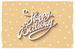 Vintage retro happy birthday card, with fonts, grunge frame and chevrons seamless background. vector Royalty Free Stock Photo