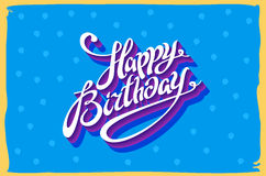 Vintage retro happy birthday card, with fonts, grunge frame and chevrons seamless background. vector Royalty Free Stock Photography