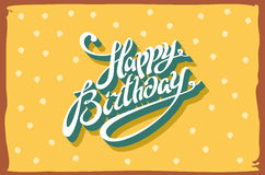 Vintage retro happy birthday card, with fonts, grunge frame and chevrons seamless background. vector. Vintage retro happy birthday card, with fonts, grunge frame Stock Photo