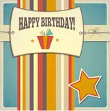 Vintage retro happy birthday card Stock Photography