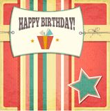 Vintage retro happy birthday card. Vector Illustration Stock Photo