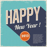 Vintage retro happy new year 2013. Cover vinyl design style with grunge frame and seamless background waves Royalty Free Illustration