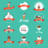 Vintage Retro Ice Cream Badges And Labels. Stock Image
