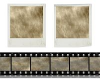 Vintage retro instant photo frames  and film. Design elements, vintage instant photo frames and film against white background, grunge background Royalty Free Stock Image
