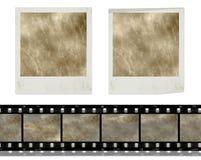 Vintage retro instant photo frames and film. Design elements, vintage instant photo frames and film against white background, grunge background royalty free illustration