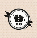 Vintage retro label : shopping cart icon Royalty Free Stock Photo
