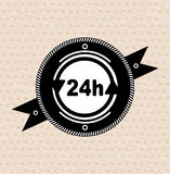 Vintage retro label | tag | badge : 24 hours icon Stock Image