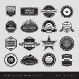 Vintage retro labels black and white isolated Stock Photography