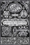 Vintage Retro Labels on Blackboard Royalty Free Stock Photos