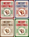 Vintage Retro Merry Christmas card, Vector Collection Set vector illustration