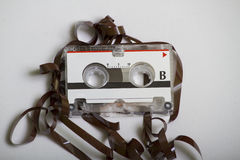 Vintage Retro Micro Cassette Tape That Was Eaten In A Recorder Royalty Free Stock Photos