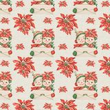 Vintage Retro Mid Century Christmas Background Papers - Snowmen - Poinsettia. Vintage mid century snowmen and poinsettias Christmas background texture for royalty free illustration