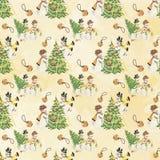 Vintage Retro Mid Century Christmas Background Papers - Snowmen - Christmas Trees vector illustration